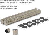 20 stuks zeer sterke rubber magneten - neodymium magneten 10x10 mm met siliconen rubber pads waardoor minder afschuiving van het oppervlak en bescherming