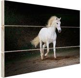 Wit paard foto Hout 160x120 cm - Foto print op Hout (Wanddecoratie) XXL / Groot formaat!