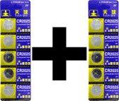 3V CR2025 Knoopcel Batterij - Lithium Cell - 10 stuks