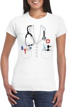 Doktersjas kostuum t-shirt wit voor dames XS