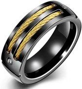 Stalen ring zwart met Goudkleurige Kabel-18mm