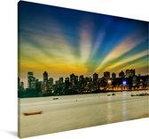 De kleurrijke skyline van Bombay Canvas 180x120 cm - Foto print op Canvas schilderij (Wanddecoratie woonkamer / slaapkamer) XXL / Groot formaat!