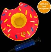 Opblaas donut bekerhouder, inflatables, met handpompje - 12 stuks
