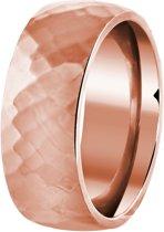 Lucardi - Stalen ring roseplated bewerkt