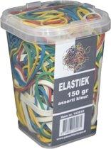 150 gram - Elastiek - assorti kleur - assorti maat - in plastic pot