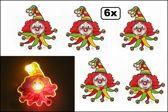 6x Broche Clown rood/geel/groen met licht