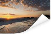Zonsondergang bij het Turkse natuurfenomeen Pamukkale Poster 120x80 cm - Foto print op Poster (wanddecoratie woonkamer / slaapkamer)