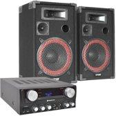 DJ PA Set Bassalt Black 500W Complete Set Karaoke