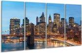 Glasschilderij Brug   Blauw,   160x80cm 4Luik   Foto print op Glas    F005734
