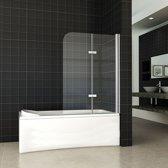 Badwand Eco 2-Delig 100x140cm Antikalk Helder Glas Chroom Profiel 6mm Veiligheidsglas Easy Clean