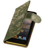 Lace Bookstyle Hoes voor Sony Xperia E3 D2203 Donker Groen