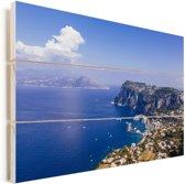 Uitzicht vanaf de noordkust van Capri in Italië Vurenhout met planken 90x60 cm - Foto print op Hout (Wanddecoratie)