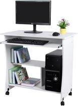 Computertafel Bureau Op Wielen - Verrijdbaar Computerbureau - PC / Apple Macbook iMac / Laptop Computer Bureau Meubel - Computermeubel Tafel - Wit