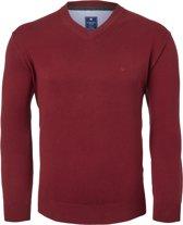 Redmond heren trui katoen - V-hals - donker rood -  Maat XL