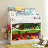 Kinderkamer Opbergkast - Speelgoedrek Boekenrek - Kinder Organizer Rek Opbergkast Met 6 Opslagbakken - Opberg Kast Voor Speelgoed & Boeken Opbergen - Wit
