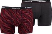Head - Heren 2-Pack Herringbone Print Boxershorts Rood Grijs - L