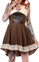 Banned Korte jurk -M- RETRO BROWN BLACK STRIPED STEAMPUNK Bruin