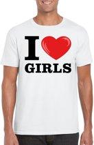 I love girls t-shirt wit heren 2XL