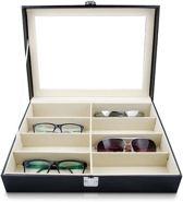 Aretica Zonnebrillen opberg box voor 8 brillen - Brillen doos - Fluweel - Kunstleer - Zwart