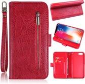 H.K. Apple Iphone 5/5S/5SE rood rits boekhoesje geschikt voor maar liefst 12 pasjes
