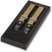 E.L. Cravatte Bretels - Gouden glitter - Met écht leer