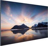 Zonsopkomst achter eiland Aluminium 180x120 cm - Foto print op Aluminium (metaal wanddecoratie) XXL / Groot formaat! / Zee en Strand