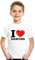 Wit I love dancing t-shirt kinderen XS (110-116)
