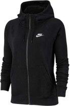 Nike Nsw Essntl Hoodie Fz Flc Dames Sportvest - Black/(White) - Maat S