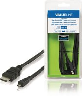 Valueline HDMI kabels High Speed HDMI-kabel met ethernet HDMI-connector - HDMI micro-connector 2,00 m zwart