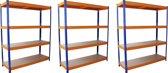 Monster Racking 3 x S-Rax Warehouse Storage Shelving, Blue/Orange, 150cm W, 50cm D
