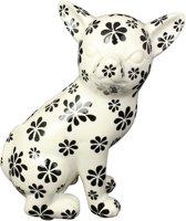Chihuahua Nanou spaarpot | hond - wit met bloemen | Pomme pidou