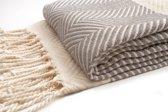 ZusenZomer lange hamamdoek xxl DILAN 95x210 lichtgewicht strandlaken of sauna handdoek - Grijs
