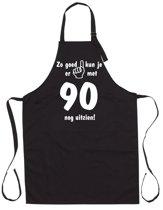 Mijncadeautje - Luxe Keukenschort - Zo goed kun je er uitzien 90 jaar - Unisex - Zwart - Leeftijd
