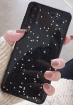 Luxe Glitter case voor Huawei P20 Pro - hoogwaardig TPU hoesje - zwart met Glitters hoesje - Bling Bling - Glamour