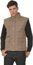 Outdoor/werk casual bodywarmer camel/beige voor heren - Outdoorkleding/werkkleding - Mouwloze vesten L (52)