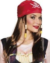 Piratenpruik en rode bandana voor vrouwen - Verkleedpruik