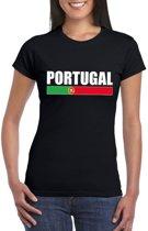 Zwart Portugal supporter t-shirt voor dames S