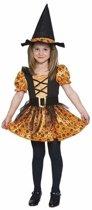 Oranje heks jurkje voor meisjes - heksenjurkje 120-130 (7-9 jaar)