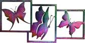 Wanddecoratie vlinders - gepassiveerd staal - 83cm