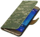 Wicked Narwal   Lace bookstyle / book case/ wallet case Hoes voor Samsung Galaxy A3 (2016) A310F D.Groen