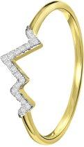Lucardi - Diamond Luxury - 14 Karaat geelgouden ring hartslag met diamant