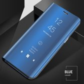 Clear View Mirror Stand Cover + Full Cover 9H Tempered Glass Screenprotector voor de Samsung Galaxy S6 Edge _ Blauw
