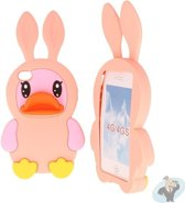 iPhone 4S Silicon Case Kids Fun 3D Hoesje - Pink Duck