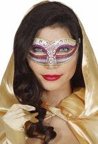 Roze regenboog glitter masker voor vrouwen - Verkleedmasker
