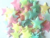 100 Multikleurige Sterren aan de hemel - Glow in the dark sterren - lichtgevende Multikleurige  sterren - Leuk voor in de kinderkamer - 200 stuks