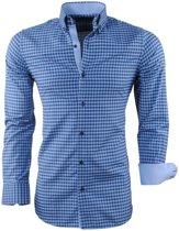 Montazinni - Heren Overhemd - Geblokt - Navy