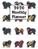 2020 Monthly Planner: Old English Sheepdog Dog - 12 Month Planner Calendar Organizer Agenda with Habit Tracker, Notes, Address, Password, &