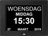 Leagwhar Kalenderklok Digitale Dementie klok zwart | Kalender met datum, tijd en alarm / ochtend | middag | avond aanduiding