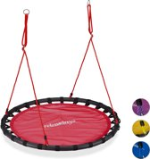 relaxdays Nestschommel - schotelschommel - buiten schommel - kinderschommel - XL- 120 cm rood