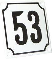 Emaille huisnummer wit/zwart nr. 53 10x10cm